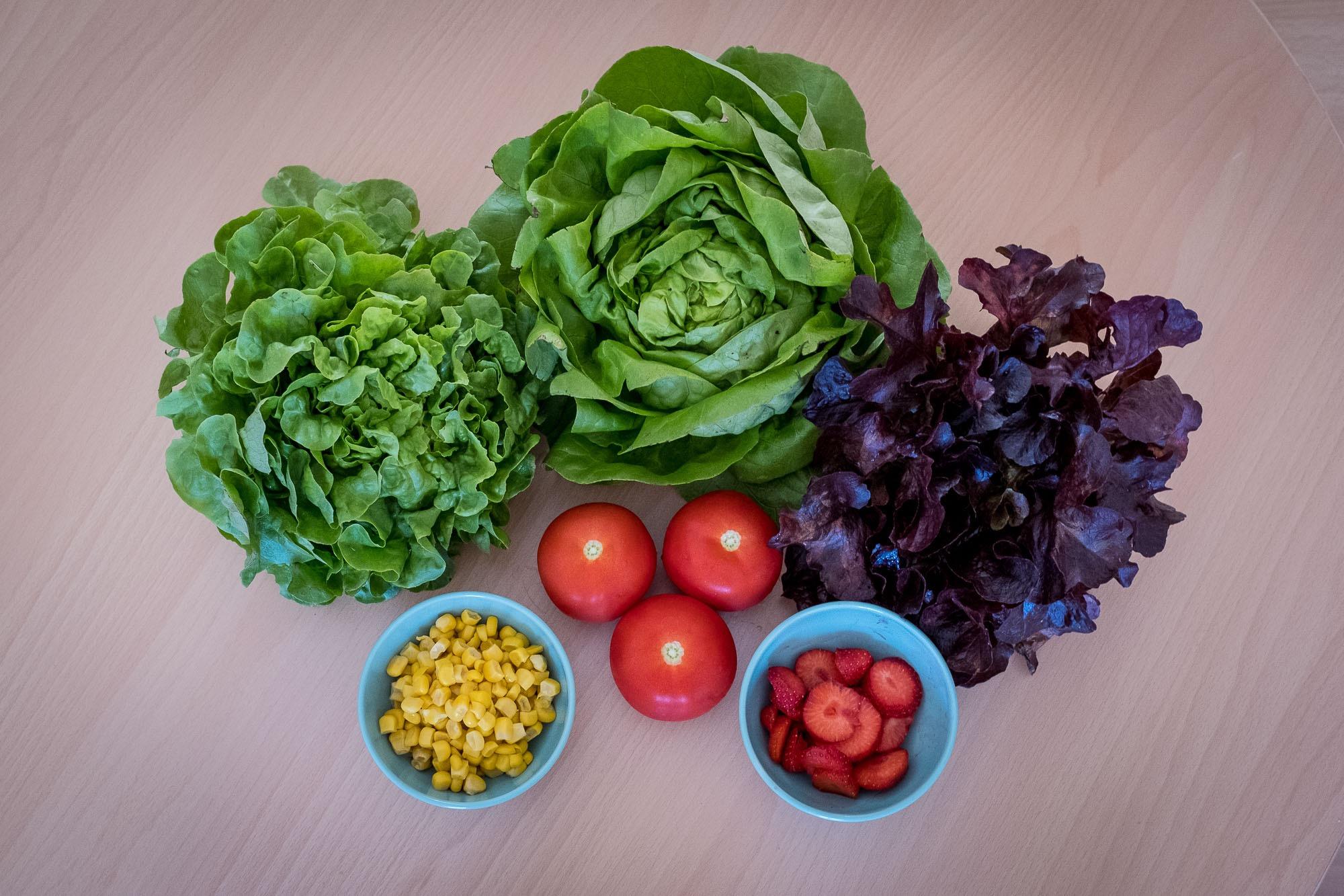 Zutaten für meinen knackigen Sommersalat: Salat, Mais, Tomaten und Erdbeeren.